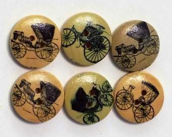6 Large Wooden Horse and  Buggy Carriage  Buttons - #WS-00051
