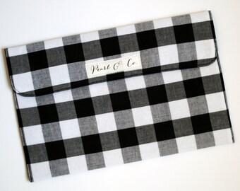 Diaper Clutch - Black and White Buffalo Plaid - Monochrome Diaper Pouch - Diaper and Wipes Case - Pearl & Co. Clutch - Diaper Bag Organizer