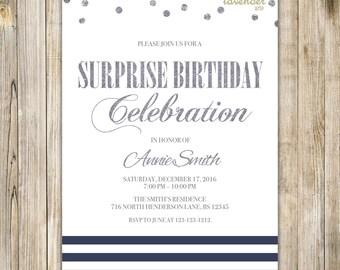SURPRISE BIRTHDAY Party Invitation, Shhh It's A Surprise Invite, Surprise 50th Birthday, Nautical Surprise 60th Birthday, Minimalist
