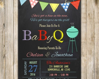 RAINBOW CHALKBOARD BABY Q Shower Invitation, Rainbow Coed Shower Invite, Baby Boy Girl Co-ed Couple Shower, Summer Backyard Barbecue Cookout