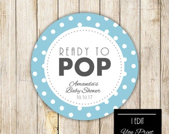 Digital READY TO POP Baby Shower Gift Tag, Gray Blue Polka Dots Gift Wrap,