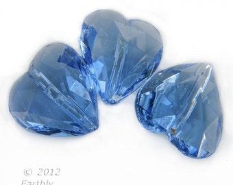 Vintage cut sapphire glass hearts, 12mm, West Germany 6pcs. b11-bl-2037(e)