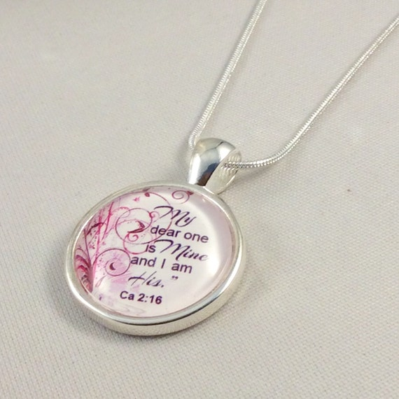 "JW Circle Pendant ""My dear one is mine and I am  his"".  Ca. 2:16 Blue Velvet Gift Bag Included! #12"
