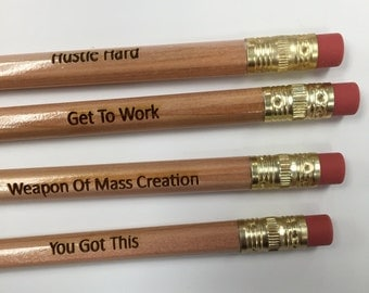 Custom wood pencils with name or saying. Laser engraved pencils. Party favor, back to school, stocking stuffers, gift, personalized