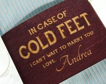 """Custom Cold Feet Socks Label for Groom- Grooms Gift from Bride Wedding Day- """"Photo-Real Leather"""" Paper Wrapper & Grooms Socks- Black/ Navy"""