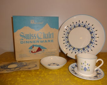 Vintage 2 Dinnerware Sets of NIB Mar-Crest Swiss Chalet NEW in Box