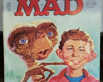 """MAD Magazine Vintage Rare 1983 January Issue No. 236 Featuring """"E.T."""", """"Star Trek II"""",""""Annie"""" Don Martin 2017 35th Anniversary of ET"""