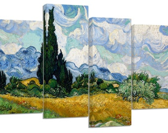 "vincent van gogh /Wheat Field with Cypresses/famous oil painting/set of 4 new split canvas prints/ 32""x 20"""