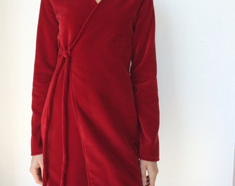 Velvet Wrap Dress in Red