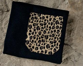 Cheetah pocket tshirt, pocket tee, black tshirt with cheetah pocket, monogram pocket tee