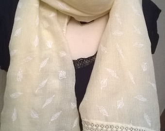 Yellow cotton printed scarf
