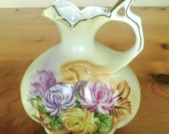 Antique Vintage Hand Painted Fine China Pitcher With Floral Decor Marked R S On The Bottom