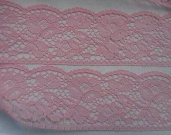 2 Yards Bright PINK Lace Trim Flower Venise Lace Trim 2.25 Inches Wide