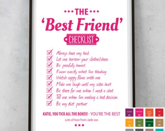 Unique Personalised Best Friend Checklist Picture Print - Typography Word Art - Birthday Thank you  Gift Friend Present