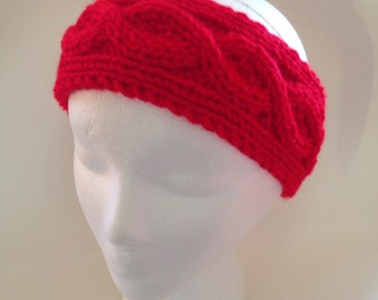 Knit Fashion Accessory, Red Headband, Knitted Cable Stitch Ear Warmer, Woman's Headwrap, Knitted Turban