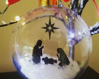 Nativity in snow Acrylic Bauble