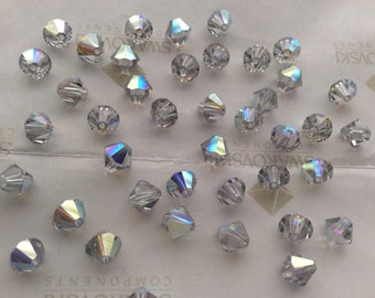 Swarovski #5301 Shadow Crystal AB Bicone Faceted Beads 4mm 6mm