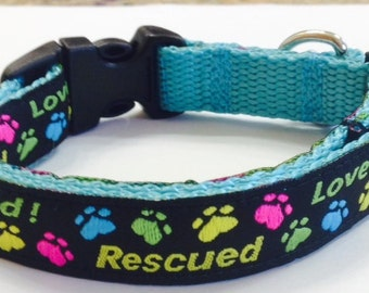 Rescue Dog Paws Jacquard Ribbon Dog Collar, Rescued & Loved, Small Boy/Girl Dog Collar,Veterinary Supply, Souvenir,Pet Supplies,Pet Gift