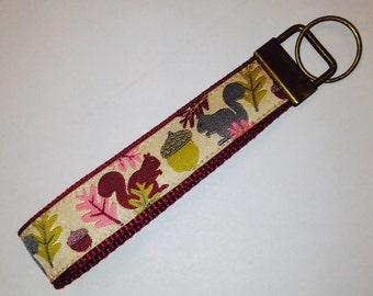 Squirrels Acorns Designer Wristlet Jessica Jones Key Fob:Maroon Jacquard Rustic Luggage/Backpack Tag,Souvenir, QuilterSewing Scissors Holder