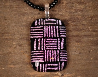 Pink and Black Herringbone Fused Glass Pendant