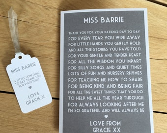 Personalised Teacher thank you card with matching tag