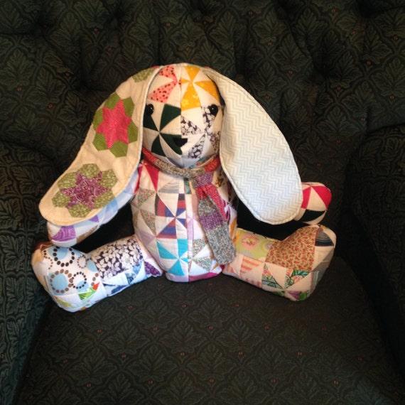 Handmade stuffed patchwork bunny