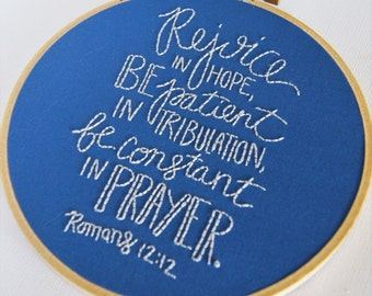 Romans 12 12, Embroidery Hoop Pattern: Christian Embroidery, Hand Embroidery Pattern, Embroidery Beginner, Scripture Art,