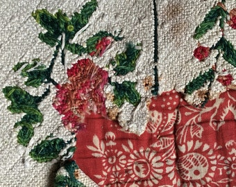 Antique silk tapestry late 1800s, armchair sample, green, pink, white, red floral rose motif, upholstery, cushion, vintage textile