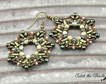 Green, Khaki and Brown Beaded Earrings