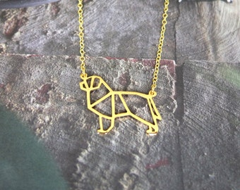 Newfoundland, Dog Necklace, Origami Necklace, Dog breed, Pet Necklace, Family Pet, Pet memorialize, Pet lover, Personalized dog, Dog Gifts