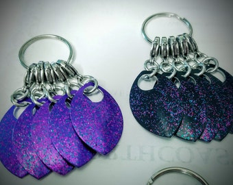 Large scale Sparkly Scale  Stitch Markers