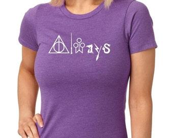 "Harry Potter ""Always"" Hogwarts Quidditch Womens T-Shirt Jr. Size"