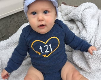 "Down Syndrome Awareness Onesies ~ Baby Girls or Baby Boys, Blue Long-Sleeved Onesie with Yellow and White ""T21"" Logo and Arrow Heart"