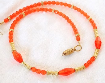 Orange Glass Beaded Necklace, tangerine & gold layering necklace with faceted orange Czech glass. Free Shipping USA