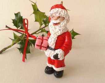 Polymer Clay Santa Claus Christmas Tree Decoration, Father Christmas Winter Holiday Ornament, Miniature Santa with Gift, Christmas Gift Idea