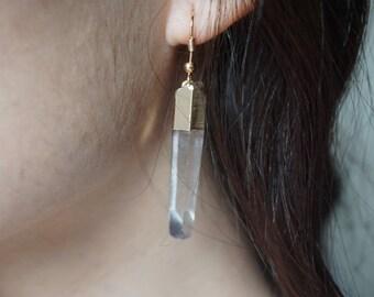Cute Quartz Spear // Raw Quartz // Crystal Earrings