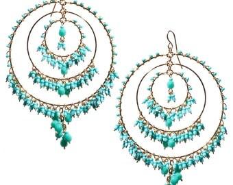 Turquoise Chandelier Earrings, Chandelier Hoop Earrings, Bohemian Chandelier Earrings, Turquoise Beaded Earrings, Large Beaded Hoops, Blue