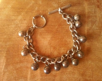 Vintage 1940's Silver Bracelet ~  Ball & Chain with Pin in Hoop Closure~  Old Vintage Jewelry On Sale!!