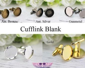 Bezel Cufflink Blanks - 20mm Brass French Cufflink Base - Bezel Cufflink Settings - Brass Cufflink Findings - Silver Gold Rose Gold Cufflink