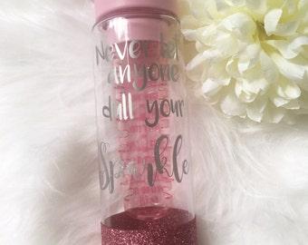 Water bottle With Timer / Glitter Water Bottle / Water Bottle with Tracker / Fitness Bottle / Personalised Water Bottle / Gym Bottle
