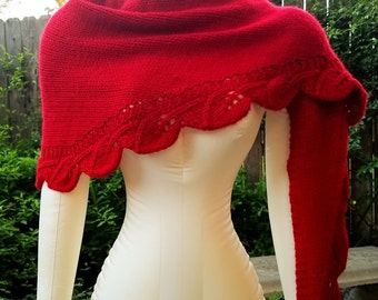 Hand Knit 100% Cashmere Shawl, Rich Red Color, Shawlette or Scarf Shaping, Lace Edging, Worsted Weight Yarn, Luxury Shawl