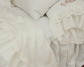 Ready To Ship - Linen flat sheet 'Grace',Queen Size, linen bedding, decorative linen sheet, top sheet