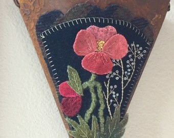 Wool Applique Poppies on a Rusty Wall Pocket