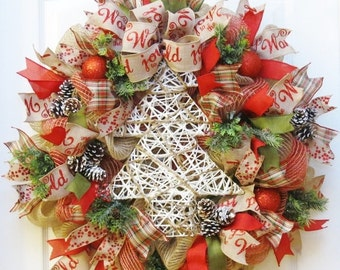 ON SALE Burlap Christmas Wreath, Christmas Burlap Wreath, Rustic Christmas Wreath, Christmas Tree Wreath, Deco Mesh, Winter Wreath