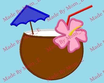 Coconut Umbrella Drink Applique