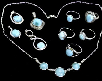 Larimar Wholesale Premium Jewelry .925 Sterling Silver Lot of 10 Items #228