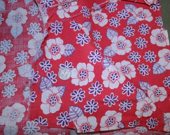 Vintage Full Feedsack Fabric Bag Blue and White Floral on Vibrant Red Field