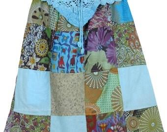 Blue Knee Length Patchwork Skirt Crochet Yoke