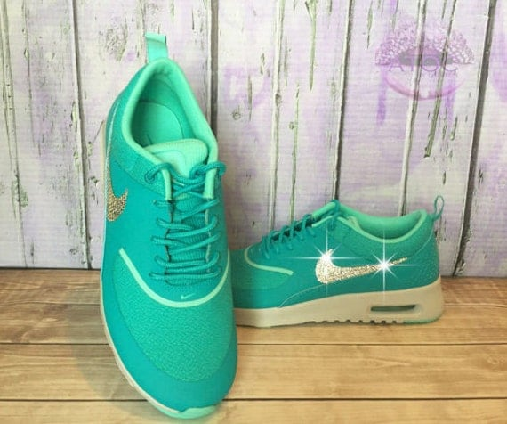 well-wreapped Women s Bling Nike Air Max Thea Green Teal by  atouchofclassbylaur 520c316fc3