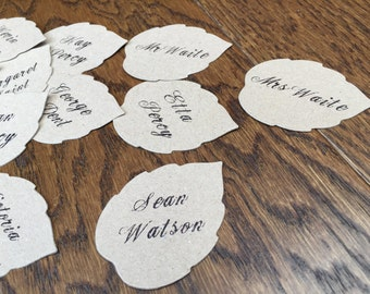 Die Cut Leaf Shape | Woodland Theme | Wedding Guest Name Place Settings